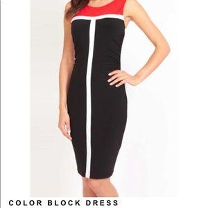 FRANK LYMAN(16)Color Block Dress -Red, Black,White